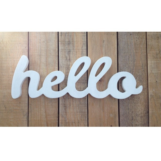 HELLO Wooden Sign Home Decor Word Art Handwrittencursive
