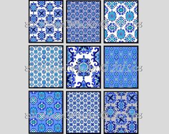 blue Wall Art - indigo Pattern Set - JIA