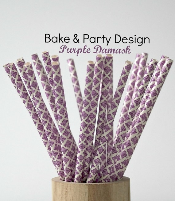 Damask Straws Vintage Purple traws Party Supplies Baby Shower Birthday ...