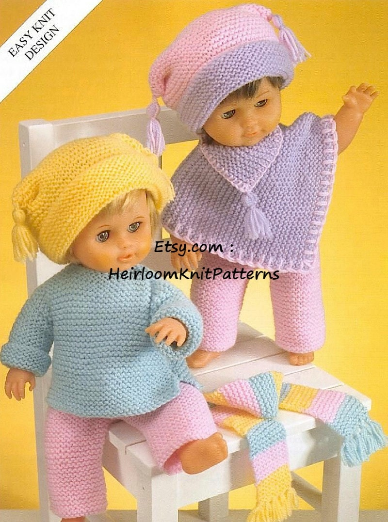 484 Easy Knit Knitting Pattern for Dolls Clothes Poncho