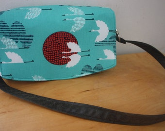 Bird Print Shoulder Bag Convertible Clutch Faux Leather Strap