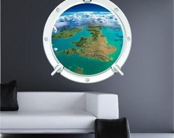 Space England 1 Austronaut Earth Bedroom Porthole Wall Art Sticker Decal WAP-P103T