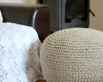 Linen pouf, crochet pouf, knit poof, crochet footstool, knit bean bag, round poof, grey poof, eco friendly poof, extra seat