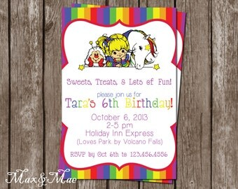 handmade rainbow birthday party invitations  etsy, Birthday invitations
