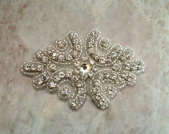 Rhinestone applique, rhinestone iron on applique, iron on, wedding sash applique, rhineston iron on