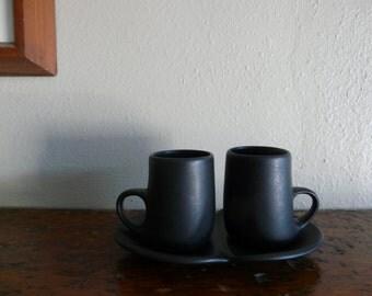 Vintage Peter Saenger Studio Pottery Black Demitasse Set