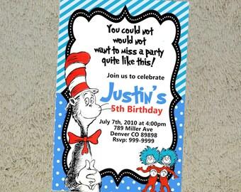 Printable Dr Seuss Birthday Invitation - Dr Seuss Invitation - Dr Seuss Invite