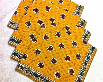 4 NEW French Provance Yellow, Blue Red Green Floral Napkins with Floral Border