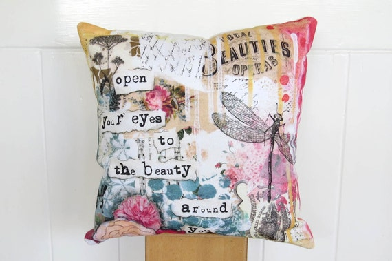 Small Shabby Chic Pillows : dragonfly pillow shabby French chic small accent home