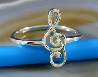 Treble Clef Ring 925 Sterling Silver   5058