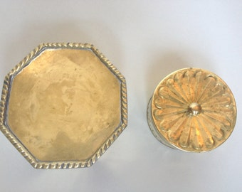 Glam Set of 2 Small Brass Trinket Boxes