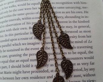 Simple Bronze Dangle Leaf Charm Necklace