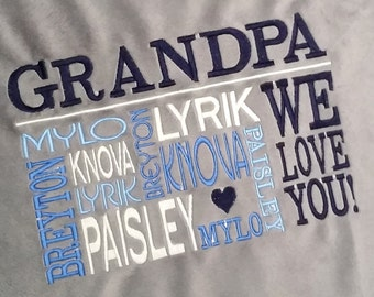 Personalized Grandpa & Grandma Throws and Blankets |  Custom Embroidered Gift for Grandparents with Grandkids' Names |  Personalized 4U!