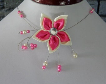 Necklace Fuchsia and ivory wedding miss end of year ball