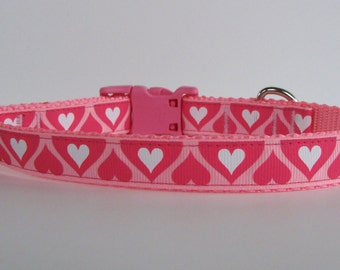 Small Pink Double Heart Valentine's Day Dog Collar - READY TO SHIP!