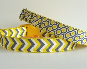 READY TO SHIP Yellow and Gray Chevron or Honeycomb Dog Collar