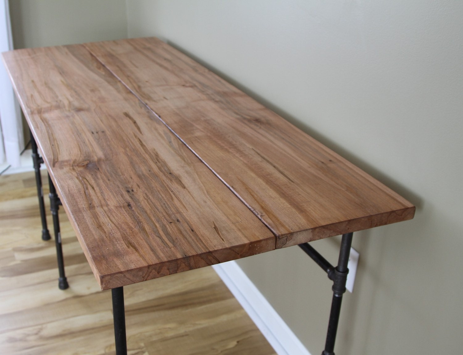 simply stated reclaimed wood slab desk wood standing office - 🔎zoom