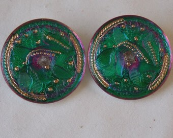 Czech Glass Buttons. Matching Pair of Czech Green / Purple Buttons  B111