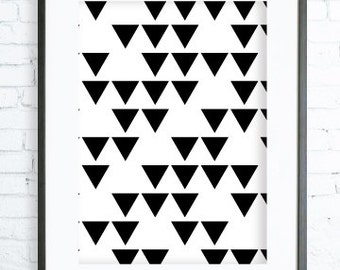 Black  Triangles Pattern, Instant Download Printable, Print Art, modern art,Triangles print,Triangles Printable