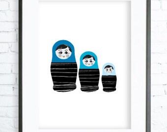 Blue Babushka Print Art, Instant Download Printable, Babushka printable art, Print Art, Babushka Decor, Blue Art Print, office artwork