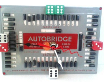 Clock Made From  Recycled And Repurposed Bridge Game Board, Repurposed, Autobridge, Upcycled, Functional Art, Made By Mod.