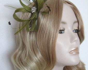 OLIVE GREEN FASCINATOR, Made with sinamay,Feathers, Crystals,on a comb