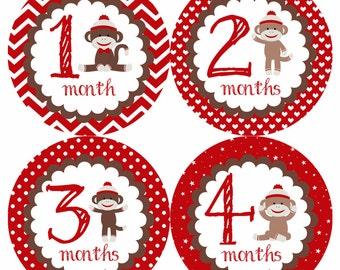 Cute Red Sock Monkey Monthly Onesie Stickers - Boy Boys win Twins Bow Monkeys