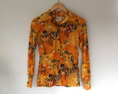 Vintage 1970's novelty shirt with lions and antelopes