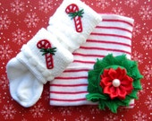 Newborn Christmas Hat Newborn Hospital with Hat Bow Baby Girl Hat Candy Cane Hat Newborn Christmas Baby Hat Photo Prop Newborn Hospital Cap