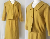 1950's Chartreuse Suit // Jacket & Skirt // vintage 50s suit