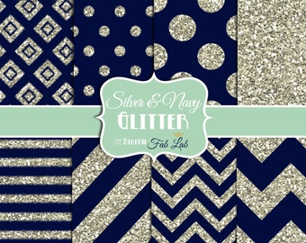 Navy and Silver, Glitter, Chevron, Stripes, Polka Dots, Digital Paper, 12x12, Scrapbook