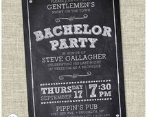 Personalized chalk Bachelor Party invitation card. Bachelor Party Invite. Party Invitation. - Printable