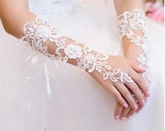 wedding gloves fingerless gloves lace flower gloves white bridal gloves in handmade