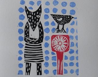 Fox and a Bird, linocut print, illustration