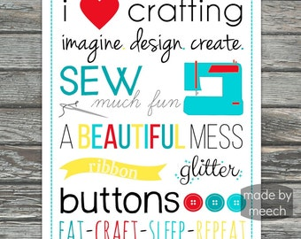 Craft Room Print, Sewing Print, 8x10