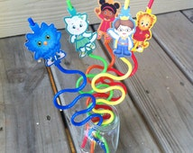Daniel Tiger's Neighborhood Inspired Straws with Toppers