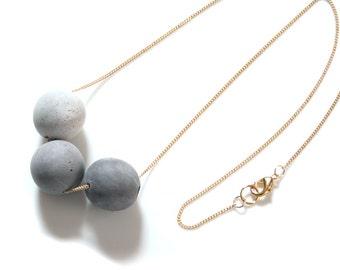 Large Concrete Bead Necklace; Long Concrete Necklace