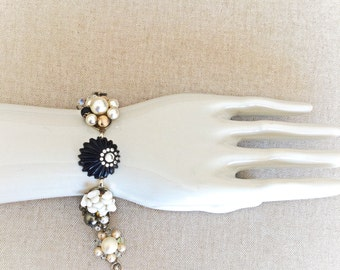 Vintage repurposed earring bracelet- black, white, crystal, pearl, rhinestone- wedding jewelry, bridesmaid gift, bridal-  VEB001