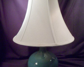 "Blue Ceramic Lamp, 22"" Height, with Shade and Matched Finial, Working"