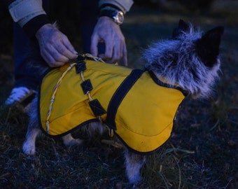 Dog raincoat, handmade,eco-textiles, repelant to water and dirt, self-cleaning Do not collect hair .SMALL SIZE