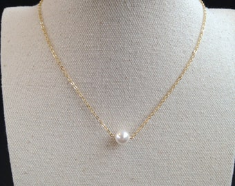 Single pearl necklace, Floating pearl necklace, Bridal pearl necklace, Bridesmaid gift,Simple everyday Jewelry,Silver Necklace.