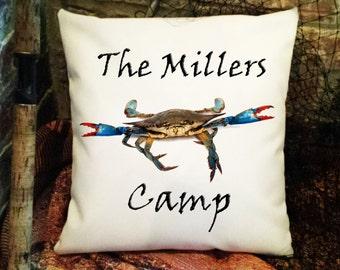 Personalized Pillow, Monogram Pillow, Outdoor Pillow, Shabby Chic Pillow, Pillow Cover, Throw Pillow, Pillow Slip, Crab Sham Item#PC0631