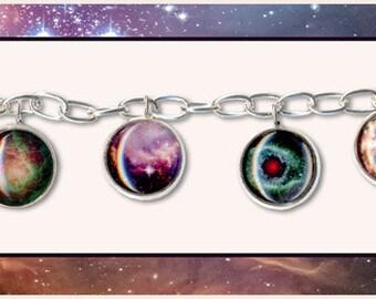 Nebula and Galaxy Charm Bangle with Card and Jewelry box