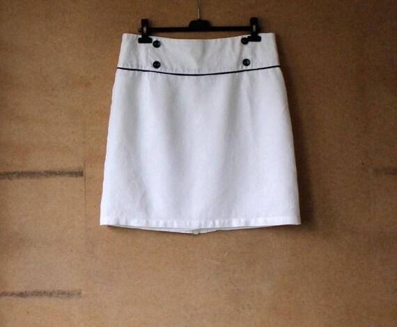 50% OFF SALE White Linen Pencil Skirt Mini Skirt Low Waisted