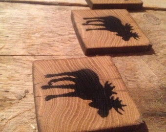 Vintage reclaimed barnwood Moose coasters (set of 4)