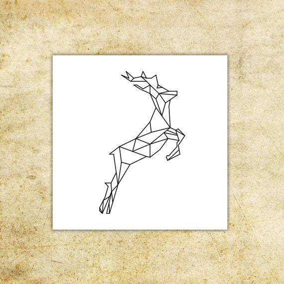 cerf g om trique tatouage temporaire lot de 2 tatouages. Black Bedroom Furniture Sets. Home Design Ideas