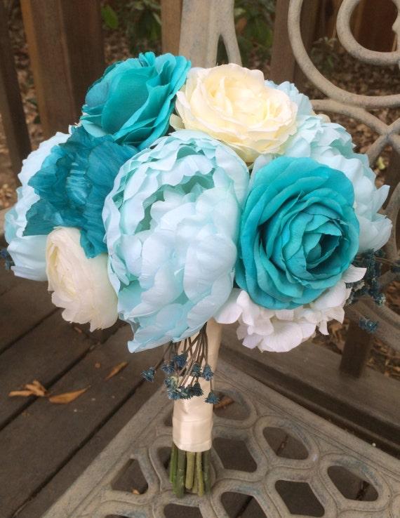 Pool Blue Wedding Bouquets : Silk peonies bridal bouquet tiffany blue by leatelierdesigns