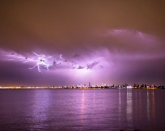 Spectacular lightning over the city of Melbourne, Victoria, Australia - Photography fine ART print