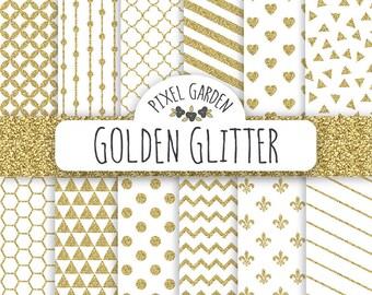 Gold Glitter Digital Paper. White and Gold Glitter Scrapbooking Paper Pack. Polka Dot, Honeycomb, Quatrefoil & Geometric.