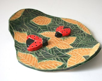 Small Decorative Nature Plate With 3D Lady Bugs